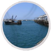 Round Beach Towel featuring the photograph Monterey Municipal Wharf by James B Toy
