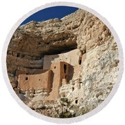 Round Beach Towel featuring the photograph Montezuma Castle by Penny Meyers