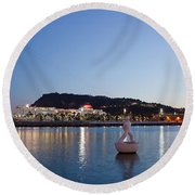 Montjuic And Torre Jaume I At Dusk In Barcelona Round Beach Towel