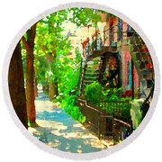 Montreal Art Colorful Winding Staircase Scenes Tree Lined Streets Of Verdun Art By Carole Spandau Round Beach Towel by Carole Spandau