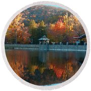 Montreat Autumn Round Beach Towel by Lydia Holly