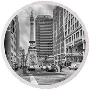 Monument Circle Round Beach Towel by Howard Salmon