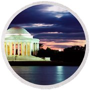 Monument Lit Up At Dusk, Jefferson Round Beach Towel