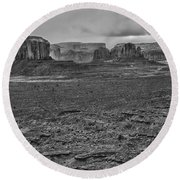 Round Beach Towel featuring the photograph Monument Valley 4 Bw by Ron White
