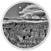Round Beach Towel featuring the photograph Monument Valley 5 Bw by Ron White