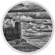 Round Beach Towel featuring the photograph Monument Valley 6 Bw by Ron White
