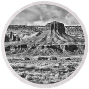 Round Beach Towel featuring the photograph Monument Valley 7 Bw by Ron White
