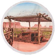 Monument Valley Overlook Round Beach Towel by Mike Robles