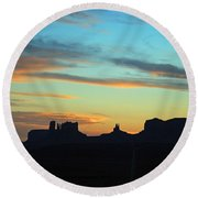 Monument Valley Sunset 4  Round Beach Towel