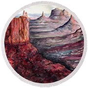 Monument Valley Arizona - Landscape Art Painting Round Beach Towel
