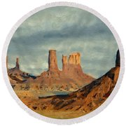 Round Beach Towel featuring the painting Monumental by Jeff Kolker