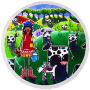 Round Beach Towel featuring the painting Moo Cow Farm by Jackie Carpenter