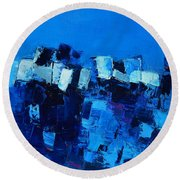 Mood In Blue Round Beach Towel
