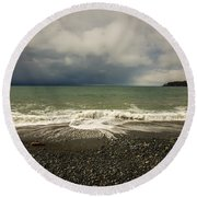 Moody Swirl French Beach Round Beach Towel