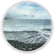 Moody Waves French Beach Round Beach Towel