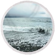 Moody Shoreline French Beach Round Beach Towel