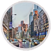 Moody Afternoon In New York City Round Beach Towel