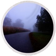 Moody Autumn Pathway Round Beach Towel
