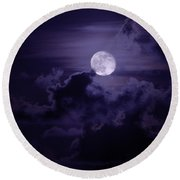 Moody Moon Round Beach Towel