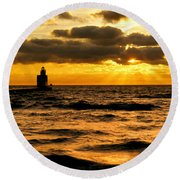 Moody Morning Round Beach Towel