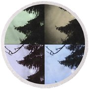 Moon And Tree Round Beach Towel by Photographic Arts And Design Studio