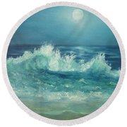 Moon Beach Painting Round Beach Towel