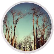 Round Beach Towel featuring the photograph Moon Between The Trees by Kerri Farley
