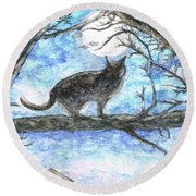 Moon Cat Round Beach Towel by Teresa White