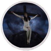 Moon Crucifix II Round Beach Towel