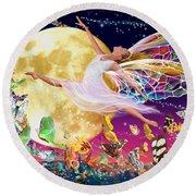 Moon Fairy Variant 1 Round Beach Towel by Garry Walton