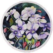 Moon Flowers Round Beach Towel