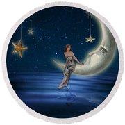 Moon Goddess Round Beach Towel