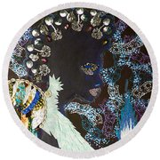 Moon Guardian - The Keeper Of The Universe Round Beach Towel
