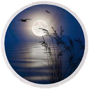Moon Light Silhouettes Round Beach Towel