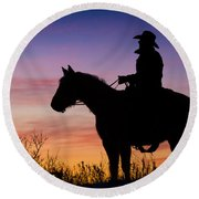 Moon On The Range Round Beach Towel