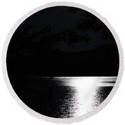Moon On Waterton Lake Round Beach Towel