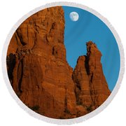 Moon Over Chicken Point Round Beach Towel