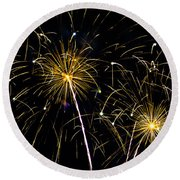 Moon Over Golden Starburst- July Fourth - Fireworks Round Beach Towel