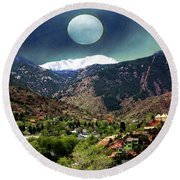 Moon Over Manitou I Round Beach Towel