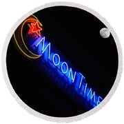 Moon Over Moon Time Round Beach Towel