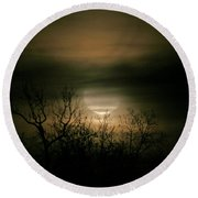 Round Beach Towel featuring the photograph Moon Over Prince George by Karen Harrison