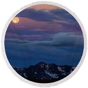 Moon Over Rockies Round Beach Towel
