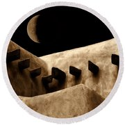 Moon Over Santa Fe Round Beach Towel