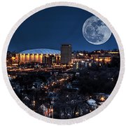 Moon Over The Carrier Dome Round Beach Towel