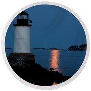 Moon Over Winter Island Salem Ma Round Beach Towel