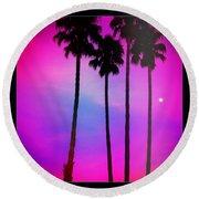 Moon Palms Round Beach Towel