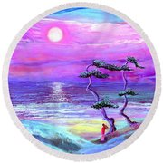 Moon Pathway,seascape Round Beach Towel