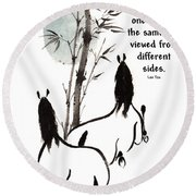 Round Beach Towel featuring the painting Moon Reverence With Lao Tzu Quote I by Bill Searle