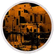 Moon Rise At The Pueblo Round Beach Towel