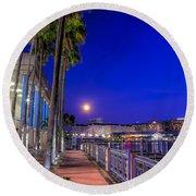 Moon Rise Over Harbor Island Round Beach Towel